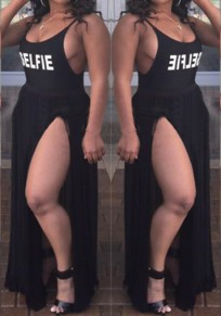 Black Letter Print Spaghetti Strap Slits On Both Sides Backless Cocktail Party Sexy Maxi Dress
