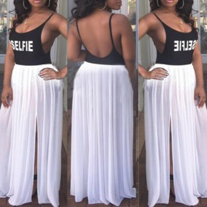 Black-White Letter Print Spaghetti Strap Slits On Both Sides Backless Cocktail Party Sexy Maxi Dress