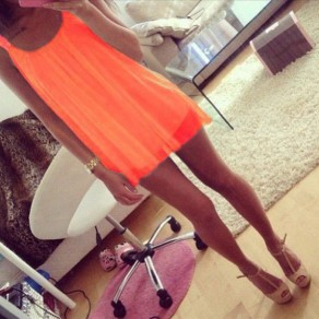 Orange Plain Double-deck Round Neck Fashion Mini Dress