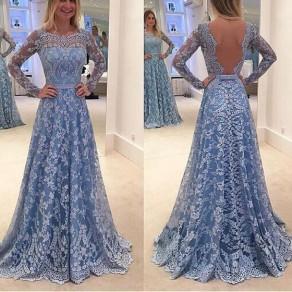 Blaue Blumen Hohle-heraus Spitze Langarm Rückenfreie Maxikleid Ballkleider Abendkleider Lang Günstig