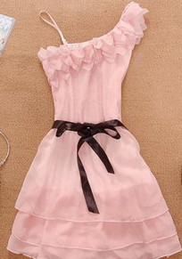 Pink Plain Cascading Ruffle Square Neck Sweet Mini Dress