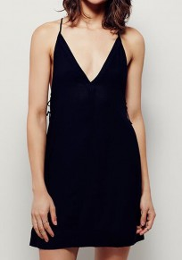 Black Plain Condole Belt Cross Back V-neck Sexy Mini Dress