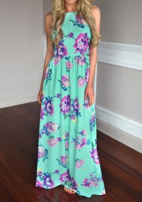 Green Floral Round Neck Sleeveless Bohemian Maxi Dress