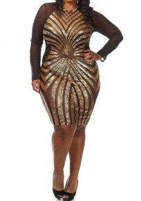 Golden-Black Splicing Oversized Geometric Sequin Grenadine See-through Bodycon Plus Size Mesh Midi Dress
