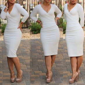 White Plain Skinny Pencil Skirt V-neck Long Sleeve Knee Length Bodycon Sexy Party Midi Dress