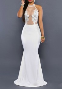 White Appliques Lace Splicing Grenadine See-through Bodycon Mermaid Prom Party Elegant Maxi Dress