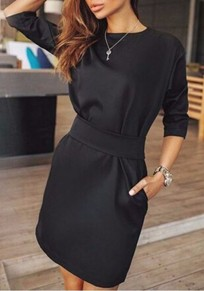 Black Plain Pockets Round Neck Elbow Sleeve Mini Dress