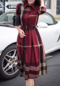 Red Plaid Single Breasted Long Sleeve Elegant Workwear Tartan UK Midi Blouse Dress