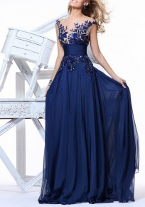 Sapphire Blue Patchwork Grenadine Double-deck Embroidery Zipper Maxi Dress