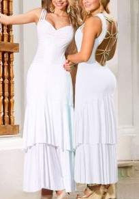 White Patchwork Cascading Ruffle Cut Out Sexy Maxi Dress