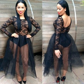 Black Lace Pleated Grenadine Long Sleeve Bodysuit Fluffy Fashion Backless See-through Prom Gowns Sexy Party Maxi Dress