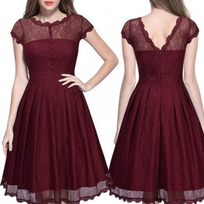 Red Plain Lace Backless Round Neck Sexy Midi Dress