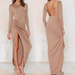Camel Plain Irregular Backless Long Sleeve Maxi Dress