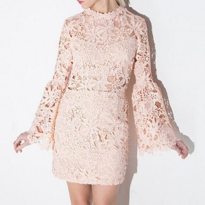 Pink Floral Hollow-out Lace Round Neck Bell Sleeve Sweet Mini Dress