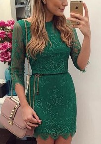 Green Patchwork Lace Embroidery Round Neck Mini Dress
