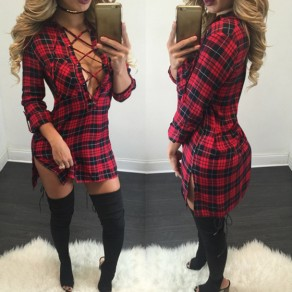 Red Plaid Bandage Irregular Sides Slits Bodycon Sexy Homecoming Teens Mini Dress