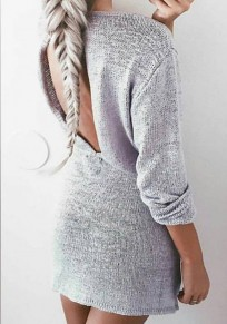 Grey Plain Drawstring Backless Round Neck Sexy Mini Dress