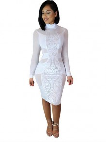 White Patchwork Grenadine See Through Bodycon Bandage Sexy Club Party Midi Dress