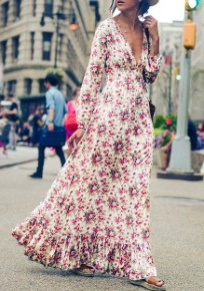 Robe maxi longue imprimé à fleurs volantées col V plongeant manches longues bohème multicolore