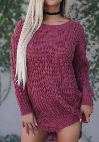 Wine Red Plain Hollow-out Round Neck Long Sleeve Mini Dress