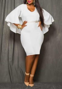 White Irregular Cloak Cape V-Neck Dolman Sleeve Plus Size Bodycon Elegant Midi Dress