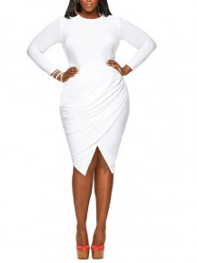 White Plain Pleated Plus Size Round Neck Bodycon Elegant Midi Dress