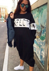 Black Monogram PERFECT Print Round Neck Long Sleeve Casual Cute Midi Dress