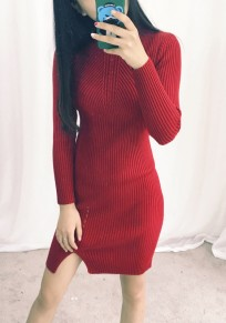 Red Plain Buttons Round Neck Casual Mini Dress