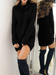 Black Plain Draped High Neck Fashion Sweater Mini Dress