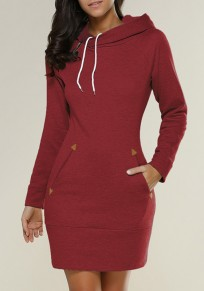 Burgundy Plain Pockets Side Zipper Hooded Cowl Neck Sweatshirt Mini Dress