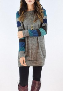 Grey-Yellow Color Block Striped Patchwork Long Sleeve Casual T-Shirts Mini Dress