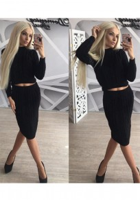 Black Plain 2-in-1 Crop Round Neck Long Sleeve Midi Dress