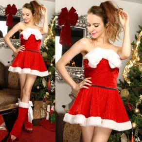 Red Christmas Princess Bow Belt Bandeau Party Cosplay Cute Mini Dress