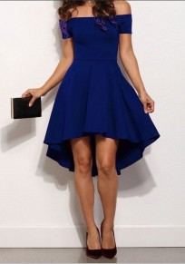 Blue Plain Off-Shoulder High-low Boat Neck A-Line Swallowtail Short Sleeve Skate Dress