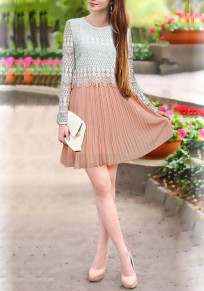 White Patchwork Lace Hollow-out False 2-in-1 Mini Dress