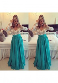 Green Patchwork Hollow-out Pearl V-neck Elegant Maxi Dress