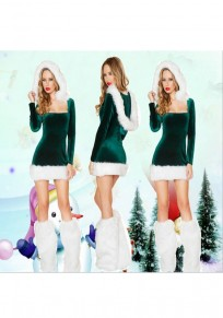 Green Patchwork Fur Square Neck Long Sleeve Mini Dress