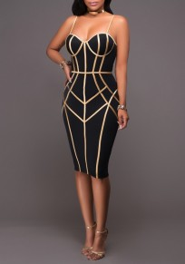 Black Geometric Gold Side Spaghetti Straps Bodycon NYE Midi Dress