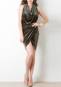 Army Green Plain Pleated Backless Halter Neck Pleuche NYE Party Ruched Mini Dress