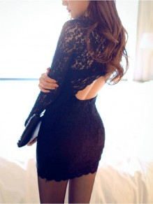 Black Patchwork Lace Round Neck Sexy Polyester Mini Dress
