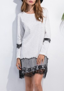 White-Black Patchwork Lace Hollow-out Draped Wavy Edge Long Sleeve Casual Mini Dress
