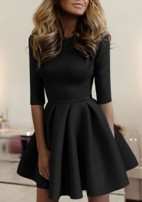 Black Pleated Round Neck Half Sleeve Homecoming Cute Skater Mini Dress