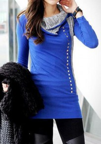 Blue Patchwork Rivet Single Breasted Long Sleeve Mini Dress