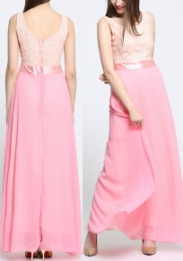 Pink Patchwork Pearl Zipper Round Neck Fashion Maxi Dress