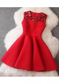 Red Plain Sequin Draped Round Neck Fashion Mini Dress