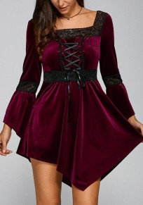 Wine Red Patchwork Lace Irregular Drawstring Mini Dress