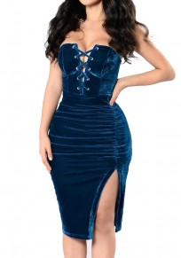 Blue Lace-up Drawstring Off Shoulder Side Slit Cotton Midi Dress