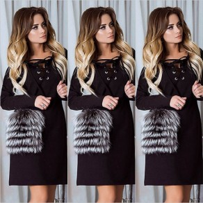 Black Lace-up Drawstring Patchwork Fur Pockets Long Sleeve Mini Dress