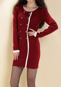 Red Patchwork Buttons Round Neck Long Sleeve Mini Dress