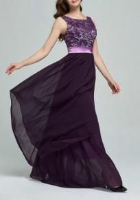 Purple Patchwork Lace Irregular Draped Chiffon Wedding Gowns High Waisted Maxi Dress